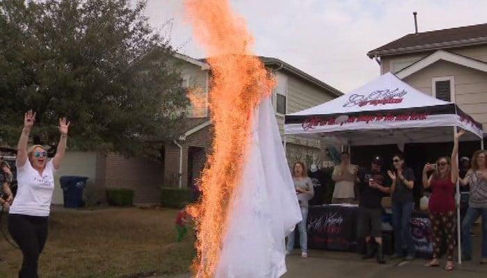 Brianna Barksdale burned her wedding dress during her divorce yard sale. (Source: KPRC/CNN)
