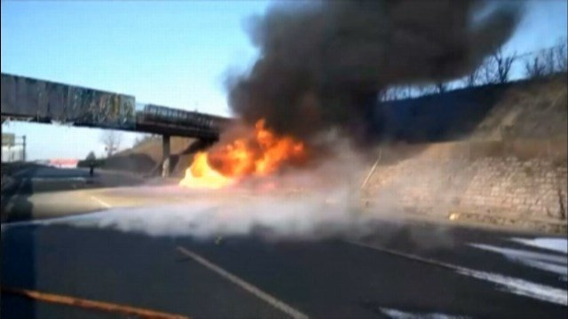 The fire forced part of the Beijing-Harbin expressway to close temporarily. (Source: CCTV/CNN)