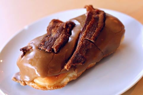 The Bacon Maple Bar made by Voodoo Doughnuts in Portland, OR, is the most deliciously deadly foodstuff available to modern man.  (Source: Wikimedia Commons)