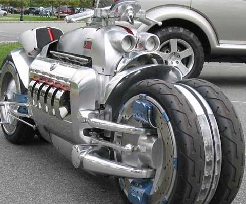 The Dodge Tomahawk is the fastest motorcycle ever made, and is in a class by itself when it comes to pure awesomeness. (Source: Wikimedia Commons)