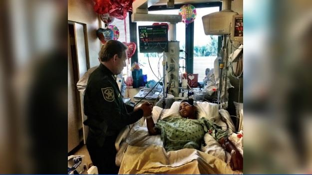 The 15-year-old took bullets to the back and both legs, but the 20 classmates he was protecting survived uninjured. (Source: Broward Sheriff's Office/Twitter)