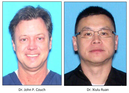 Drs. John P. Couch, right, and Xiulu Ruan ran a pain clinic in Mobile, AL, and amassed a fortune. Federal agents say that 240 patients died under their care.