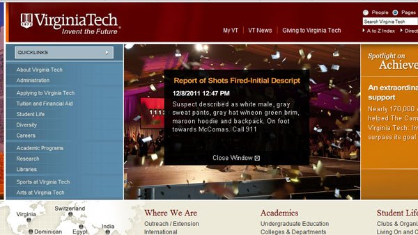 A screen grab of the Virginia Tech website. (Source: RNN)