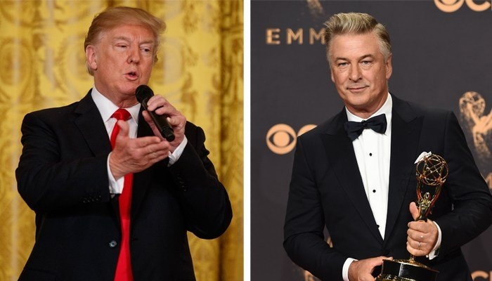 The Twitter spat began when Alec Baldwin (right) said his parody of Pres. Donald Trump is 'like agony.' (Source: AP)