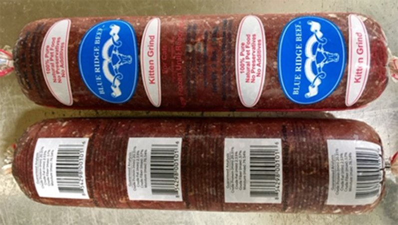 "Blue Ridge Beef, a Georgia-based pet food company, has recalled a portion of its ""Kitten Grind"" raw pet food after the FDA detected the bacteria salmonella and listeria in it. (Source: Food and Drug Administration)"
