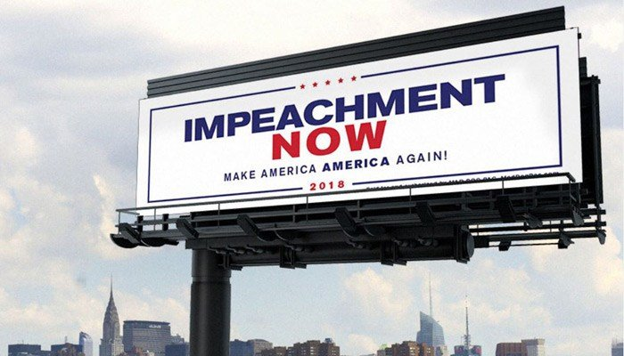 The left-wing Mad Dog PAC is behind the impeachment billboard and others across the country that target Republican lawmakers and conservative causes. (Source: Mad Dog PAC)