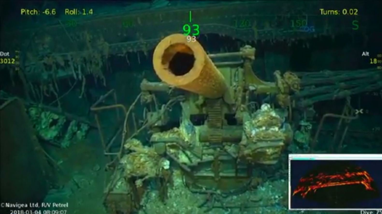 A team of explorers led by Paul Allen, the billionaire co-founder of Microsoft, has discovered the wreckage of the USS Lexington, a U.S. aircraft carrier sunk in World War II. (Source: CNN/YouTube/The Sea Lad)