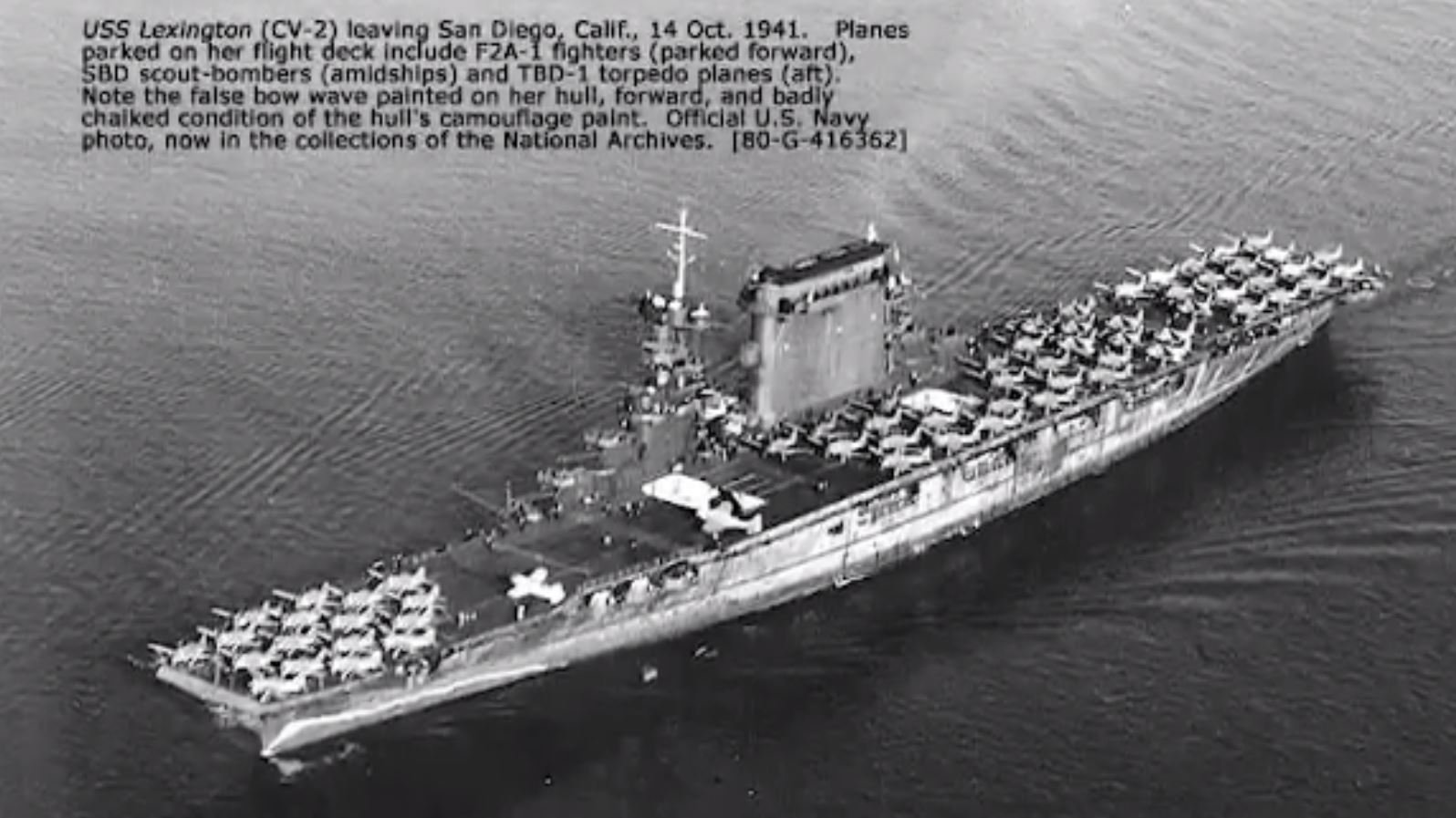 The USS Lexington was sunk by the Japanese in the Battle of the Coral Sea in May 1942. (Source: CNN/U.S. Navy)