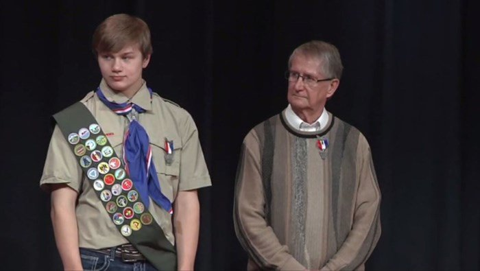 Norman Sortland, pictured right, applied 53 years ago to receive the distinguished rank, a top honor only about 6 percent of Boy Scouts achieve today. (KXMB/CNN)