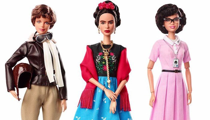 The three 'Inspiring Women' dolls are aviator Amelia Earhart, artist Frida Kahlo and mathematician Katherine Johnson. (Source: Barbie/CNN)
