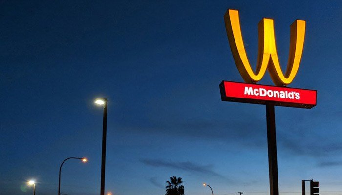 A McDonald's location in Lynwood, CA, has flipped its arches as part of a broader company campaign to celebrate International Women's Day on Thursday, March 8, 2018. (Source: McDonald's)