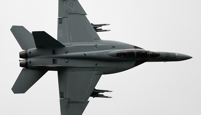 The pilot was flying a U.S. Navy F/A-18 Super Hornet. (Source: AP Photo/Remy de la Mauviniere)