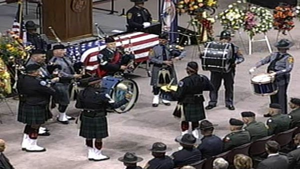 Bagpipes and drums played by the Virginia State and local police began the memorial of Virginia Tech Police Officer Deriek W. Crouse. (Source: Virginia Tech)