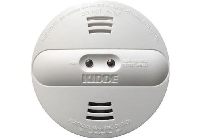 'KIDDE' is printed on the front center of the affected dual-sensor (photoelectric and ionization) alarms, and the model number and date code are printed on the back. (Source: CPSC)