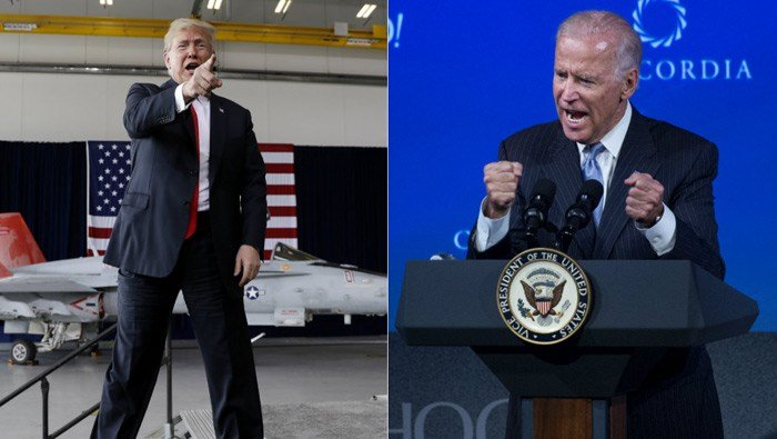 President Donald Trump responded on Twitter to former Vice President Joe Biden's claim that he would've beaten up the president in high school for his lewd comments. (AP/Evan Vucci/Craig Ruttle)
