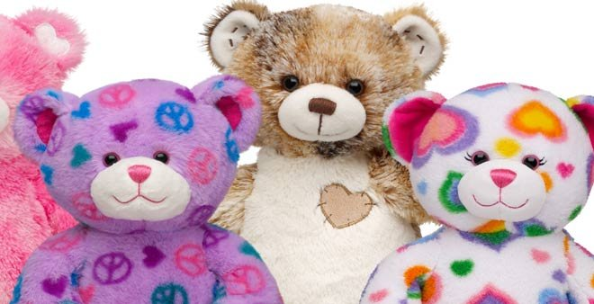Build-A-Bear has recalled the Colorful Hearts Bear (far right) due to a choking hazard. (Source:http://www.buildabear.com)