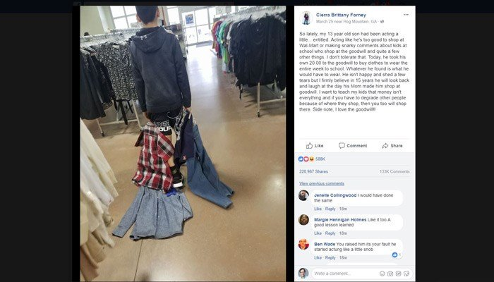 Mom takes son Goodwill shopping for making fun of classmates