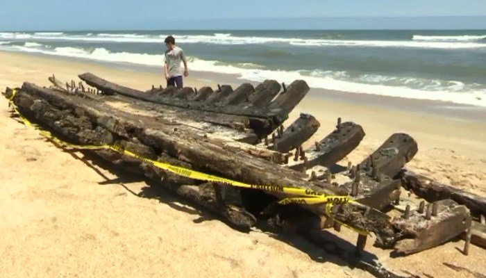 Hull From 18th Century Sailing Ship Washes Up On Florida Beach