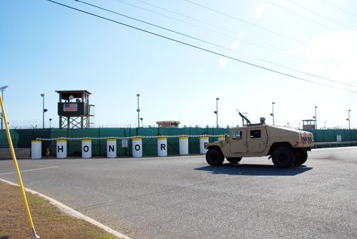 Soldiers patrol the perimeter of Camp 5 at Guantanamo Bay, Cuba. (Source: Robert R. Ramon/U.S. Army)