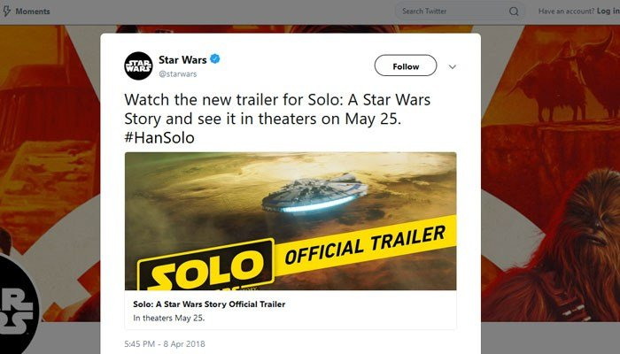 "Much to the delight of ""Star Wars"" fans everywhere, a full-length ""Solo: A Star Wars Story"" trailer was released Sunday night. (Source: Twitter)"
