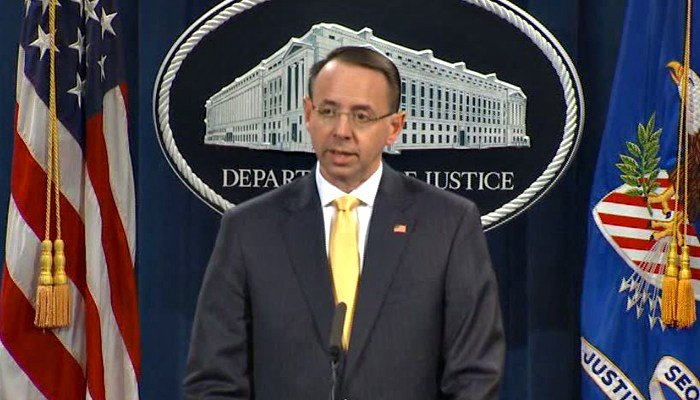 Rod Rosenstein is in charge of the Russia investigation thanks to Jeff Sessions' recusal. (Source: CNN)
