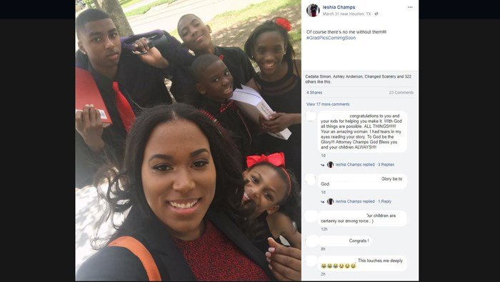 Ieshia Champs saidshe thought she was just taking a photo with her children. She said she didn't send the photo to anyone, and she credits her story'sreach to God. (Source: Facebook/Ieshia Champs)