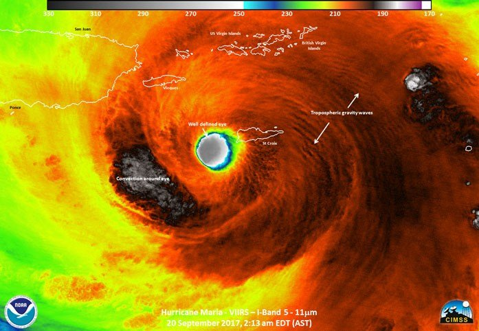 Hurricane Maria as a Category 5 storm. It made landfall on Puerto Rico as a Category 4. (Source: NOAA)