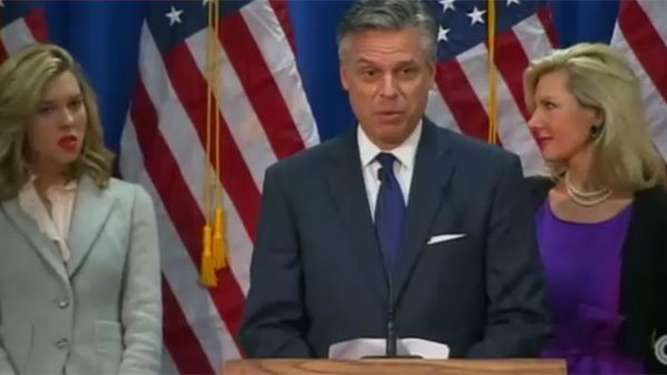Former Utah Gov. Jon Huntsman announces his resignation from the Republican presidential campaign in Myrtle Beach, SC. (Source: CNN)
