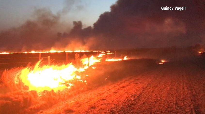 Officials rescued two hunters trapped by the blaze in Dewey County, but a 54-year-old man is still missing. (Source: Quincy Vagell/CNN