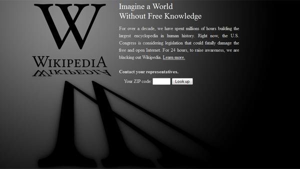 Wikipedia went offline at midnight Wednesday, starting its 24-hour demonstration against SOPA and PIPA. (Source: Wikipedia.org)