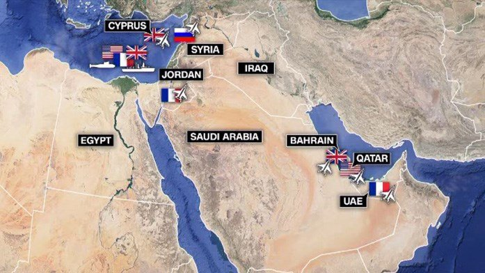A map of American, British and French bases in the region. (Source: CNN)