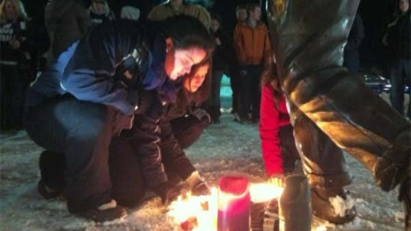 Students at Penn State held a candlelight vigil for Paterno as his family reported he was in serious condition. (Source: CNN)