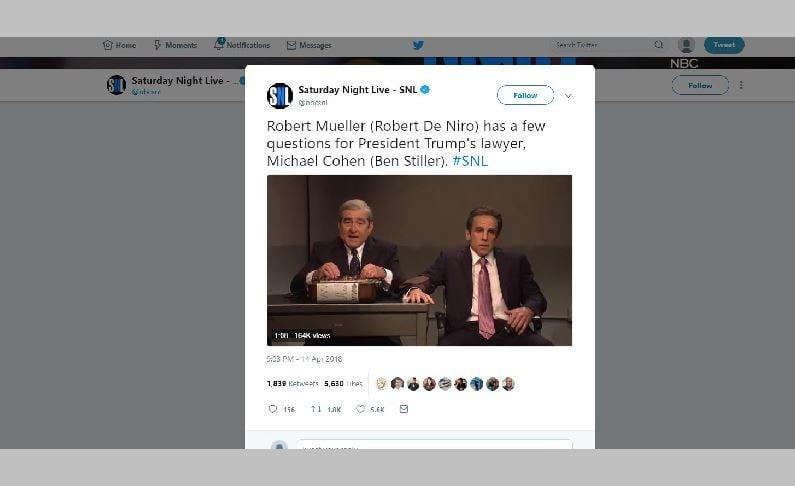 'SNL': Robert De Niro plays Robert Mueller grilling Ben Stiller's Michael Cohen