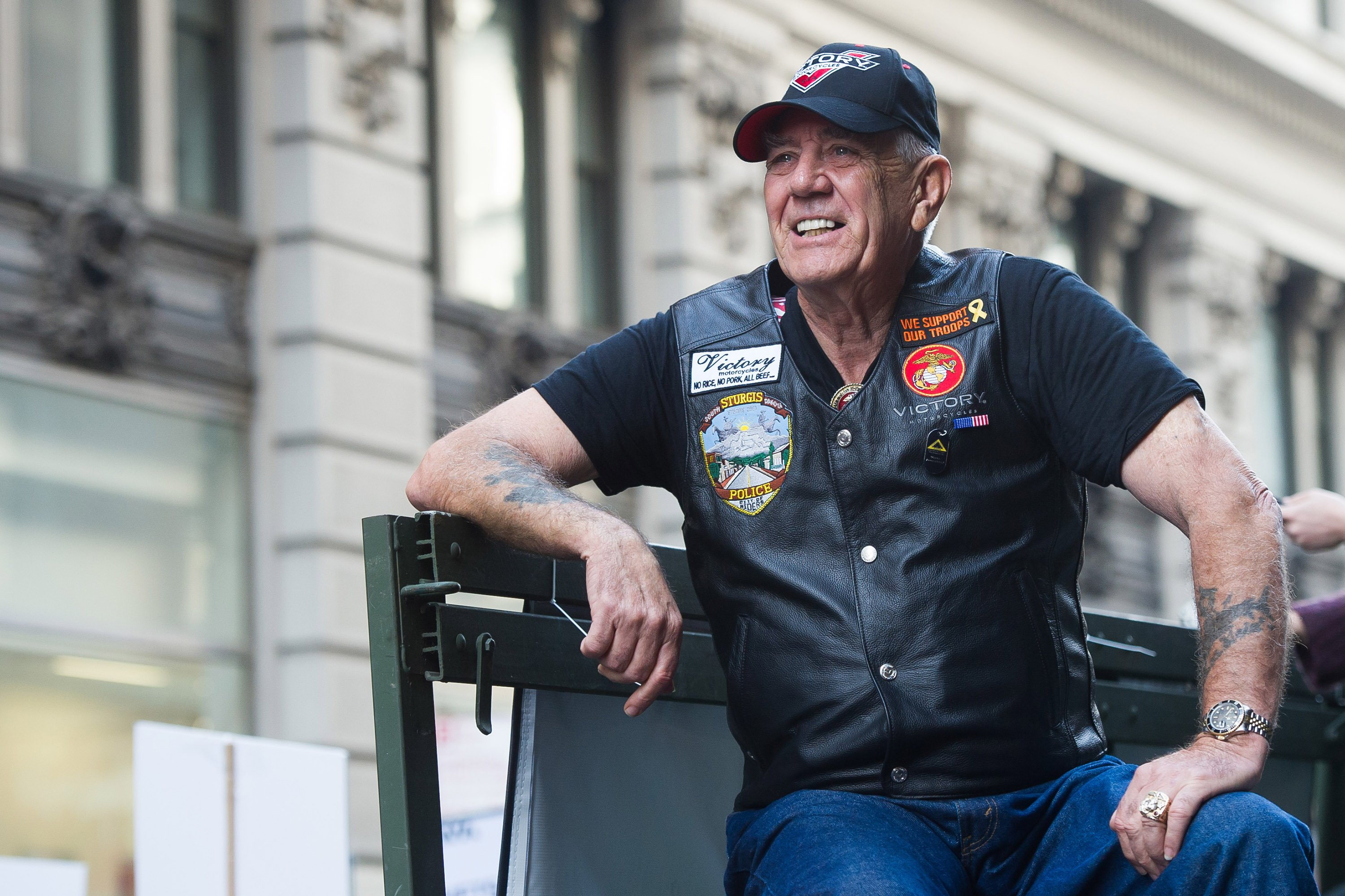 """(Charles Sykes/ AP Images for IAVA and Victory Motorcycles) Vietnam veteran and character actor R. Lee """"Gunny"""" Ermey joined 700 Veterans, 12 riding Victory Motorcycles and a 5-ton truck as part of the IAVA/Victory Motorcycles presence at America's Parade."""