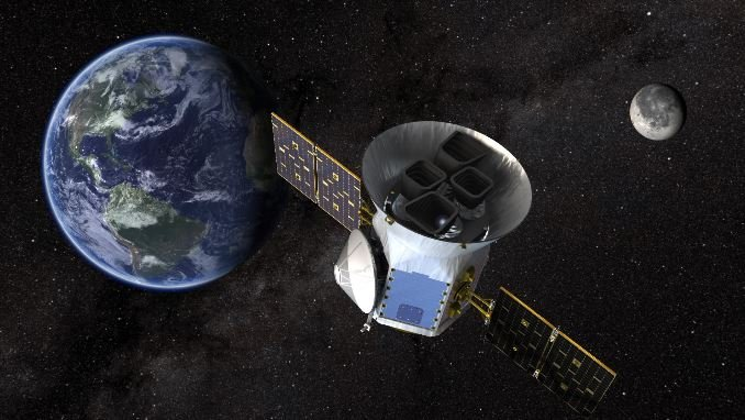 NASA's Transiting Exoplanet Survey Satellite (TESS), shown here in a conceptual illustration, will identify exoplanets orbiting the brightest stars just outside our solar system. (Source: NASA)