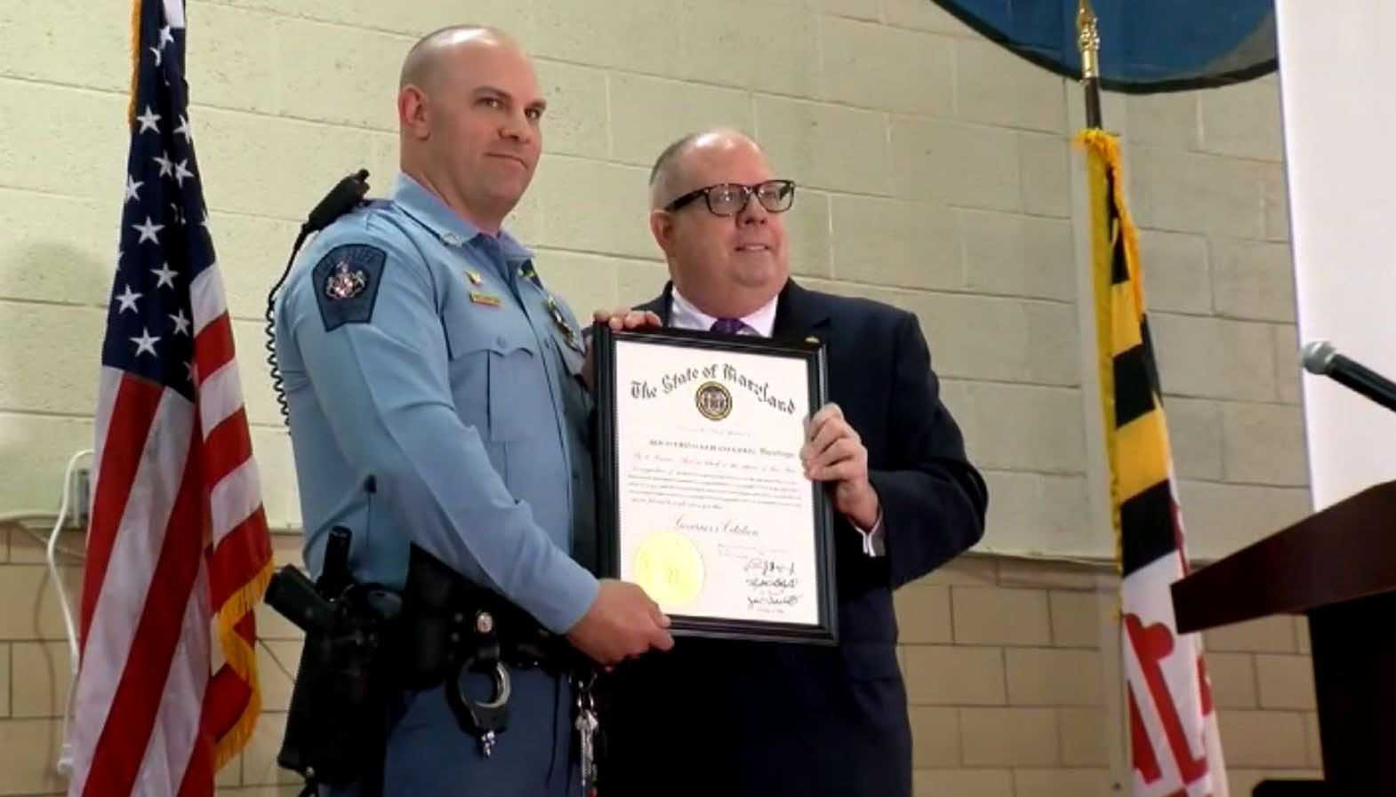 Blaine Gaskill, the Maryland school resource officer who helped end a shooting at a high school last month, was honored Thursday. (Source: WJLA/CNN)
