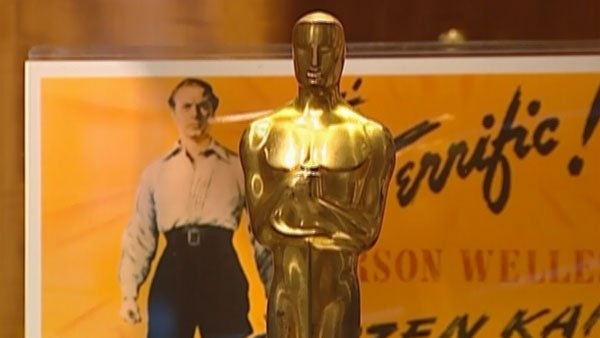 A photograph shows a close-up of Orson Welles' Oscar statuette for 'Citizen Kane.' (Source: CNN)