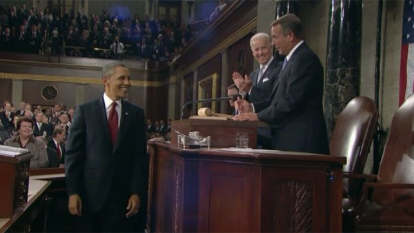 Obama greets Speaker of the House John Boehner, R-OH, before beginning his address, which is critical of the GOP. (Source: CNN)