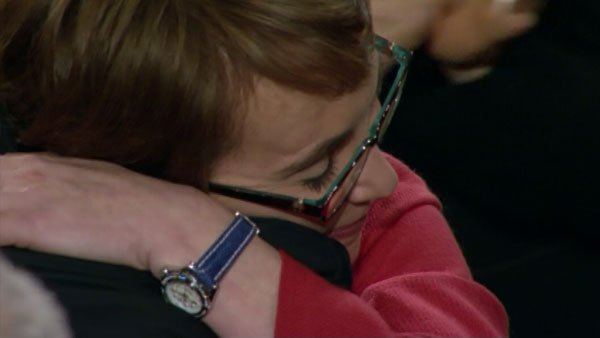 Rep. Gabrielle Giffords, D-AZ, embraces Obama as he made his way to the podium. (Source: CNN)