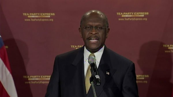 Former presidential candidate Herman Cain gives the Tea Party response to President Barack Obama's State of the Union address. (Source: CNN)