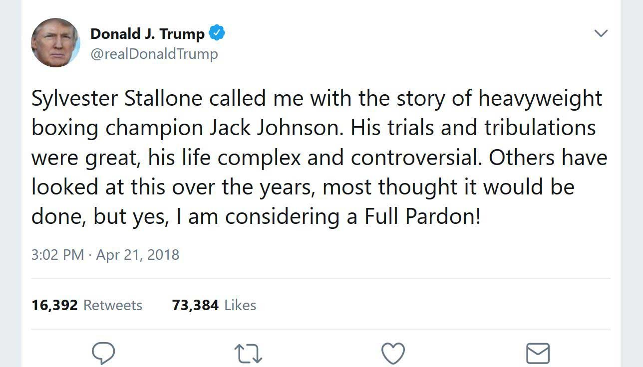 President Donald Trump tweeted that he's considering granting a posthumous pardon to legendary boxer Jack Johnson. (Source: Twitter/@realDonaldTrump)