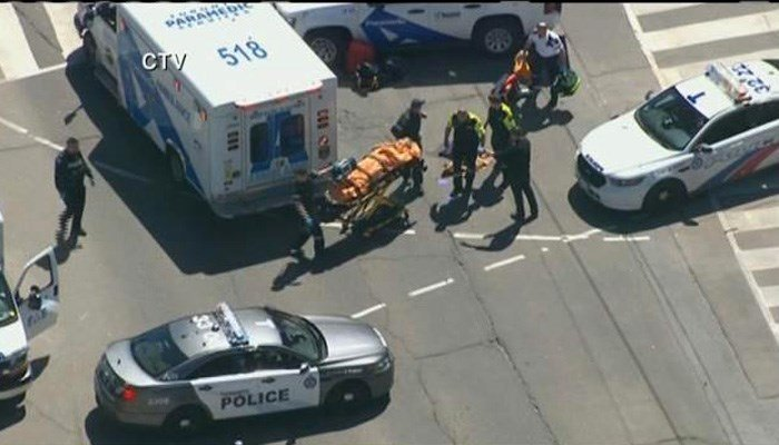 A white van hit a number of pedestrians in Toronto. (Source: CTV/CNN)