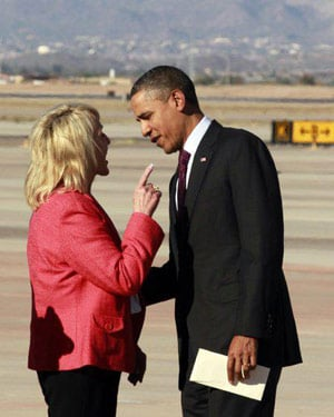 Arizona Gov. Jan Brewer and President Barack Obama had a testy exchange on the tarmac Wednesday. (Source: Jan Brewer/Facebook)