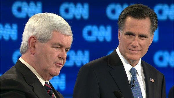 Former Speaker of the House Newt Gingrich, left, was on the defensive for most of the night at Thursday's CNN debate while former Massachusetts Gov. Mitt Romney, right, stayed on the offense. (Source: CNN)