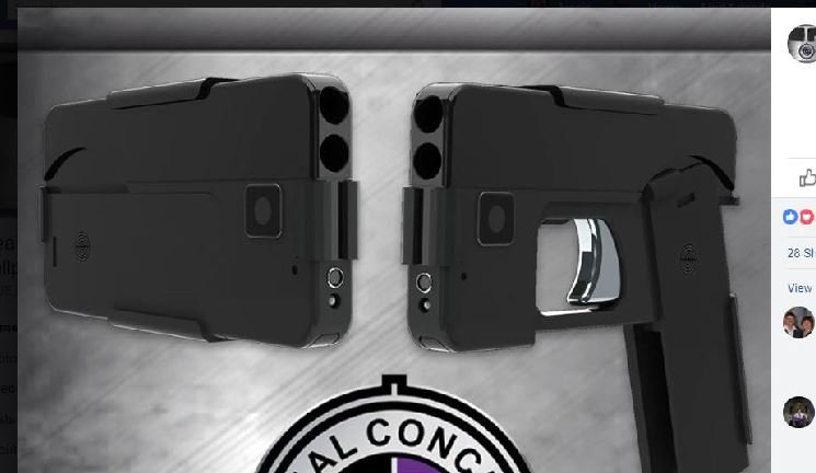 In interviews, Ideal Conceal CEO Kirk Kjellberg described the product as a 380-caliber double-barrel derringer-style pistol, that when closed, looks like an everyday cellphone. (Source: Facebook)