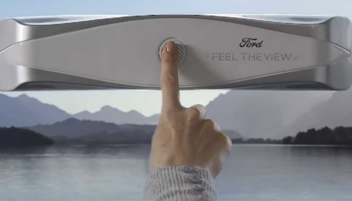 Ford's prototype of a smart window allows blind passengers to mentally recreate the outside landscape with touch. (Source: Ford/CNN)