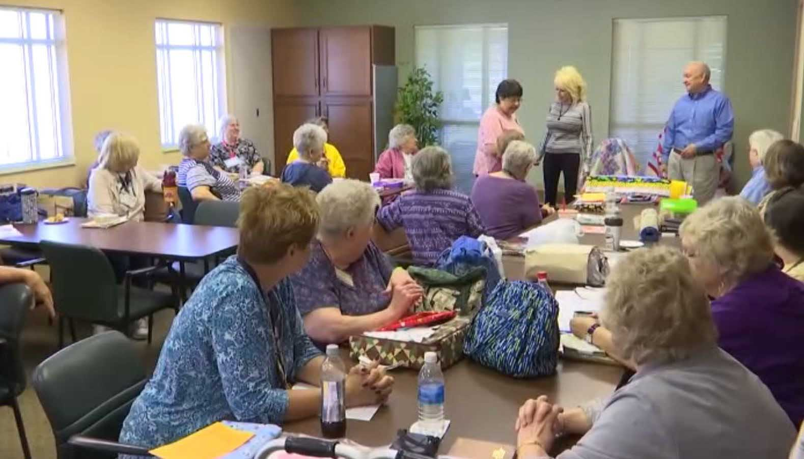 Country music legend Dolly Parton made a surprise visit to a senior center in her hometown of Sevierville on Monday. (Source: WATE/CNN)