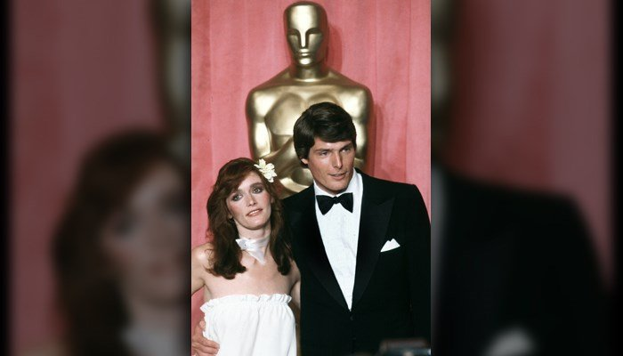 Actress Margot Kidder, left, and actor Christopher Reeve pose in front of Oscar at the 51st Annual Academy Awards ceremony in Los Angeles, Calif., April 9, 1979. (AP Photo/Reed Saxon)