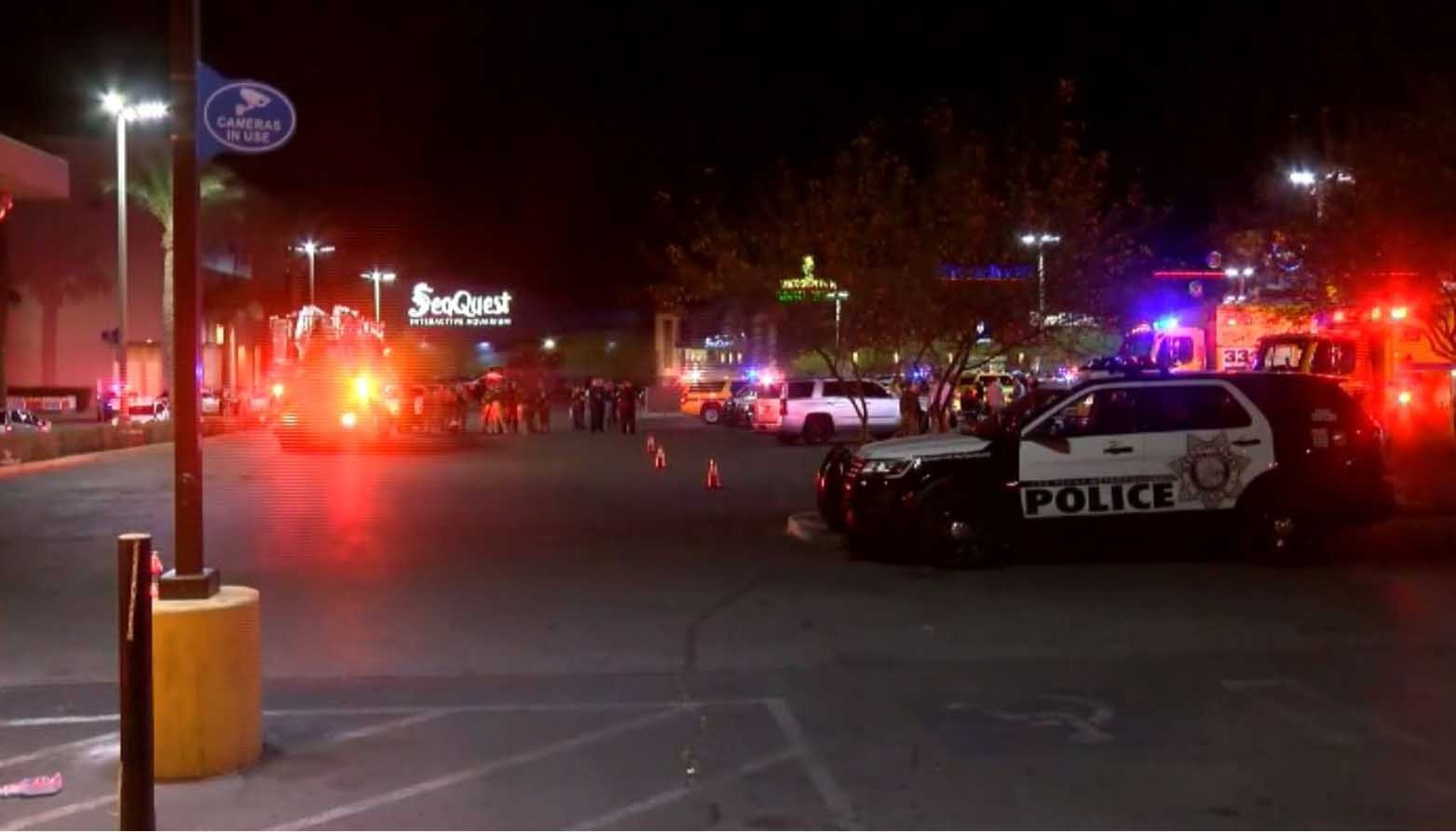 There was a heavy police presence at a Las Vegas mall Thursday night after reports of a masked man with a gun walking around. (Source: KSNV/CNN)