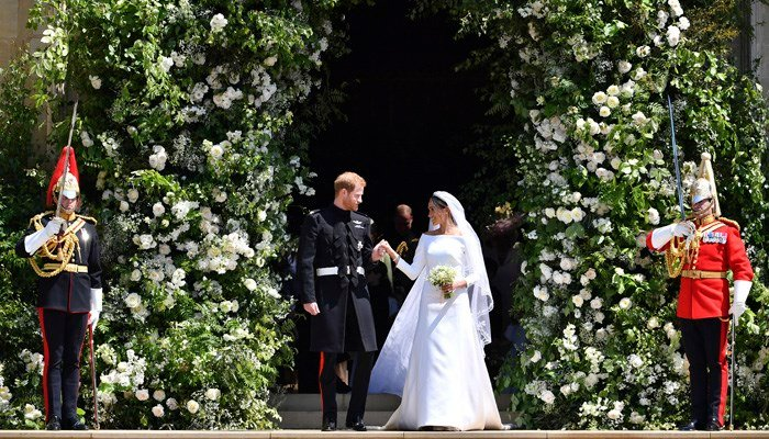 Prince Harry and Meghan Markle were married at St. George's Chapel at Windsor Castle on Saturday. (Source: Ben Birchhall/pool photo via AP)